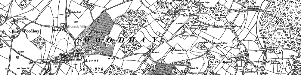 Old map of Woolton Hill in 1909