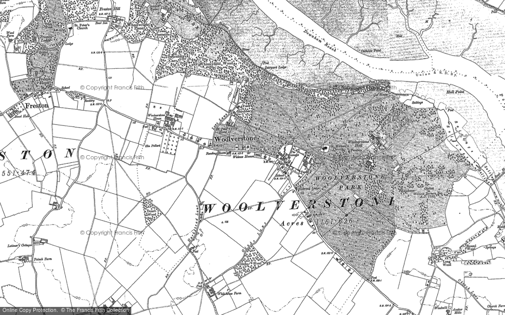 Old Map of Woolverstone, 1881 in 1881