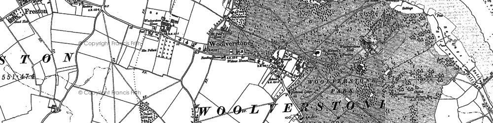 Old map of Woolverstone Park in 1881
