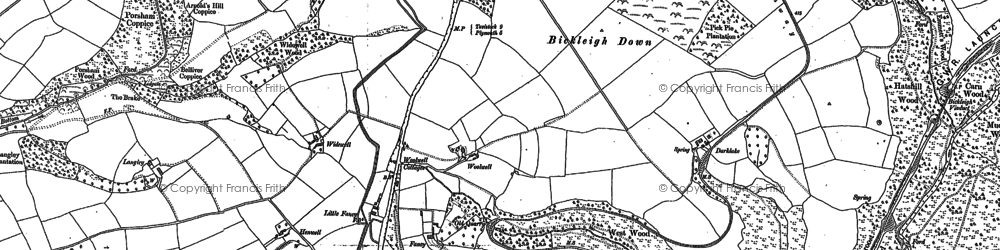 Old map of Widewell in 1884