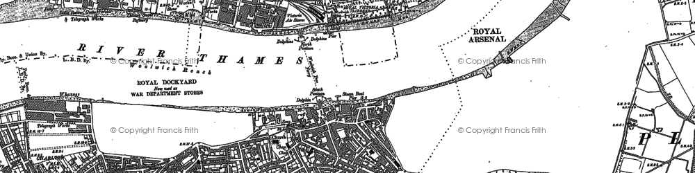 Old map of Woolwich Reach in 1894