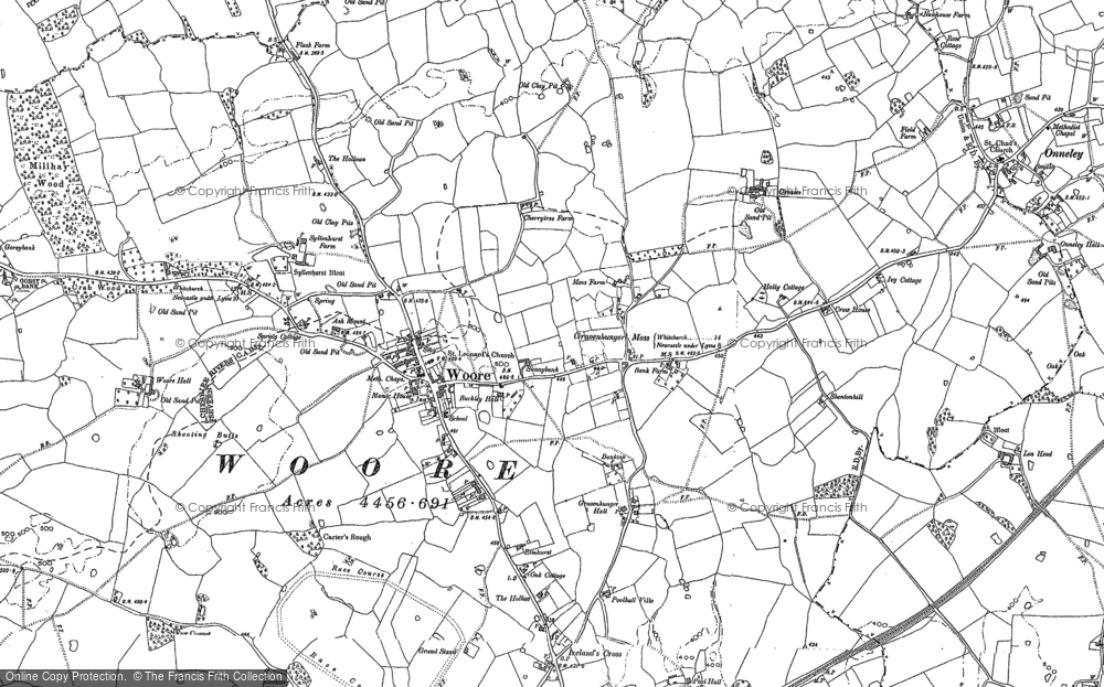Old Map of Woore, 1879 - 1899 in 1879