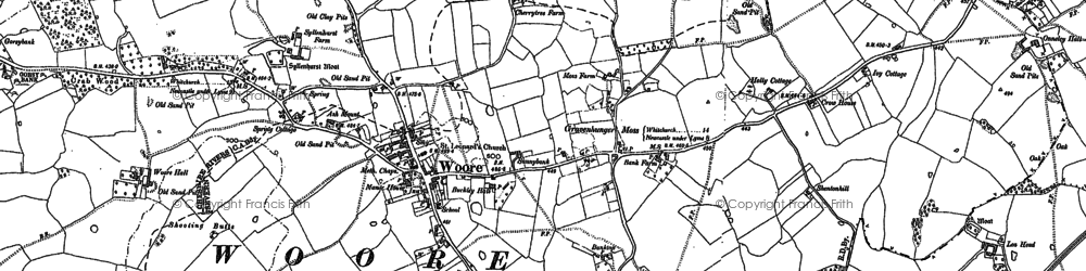 Old map of Woore in 1879