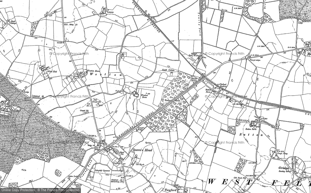 Old Map of Wootton, 1875 - 1880 in 1875