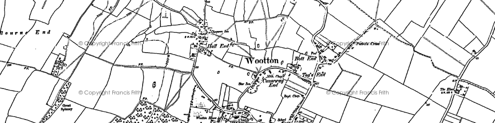 Old map of Wootton in 1882
