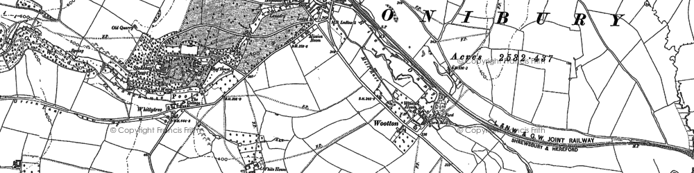 Old map of Wootton in 1883