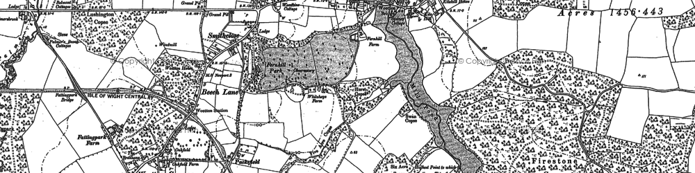 Old map of Wootton Bridge in 1896