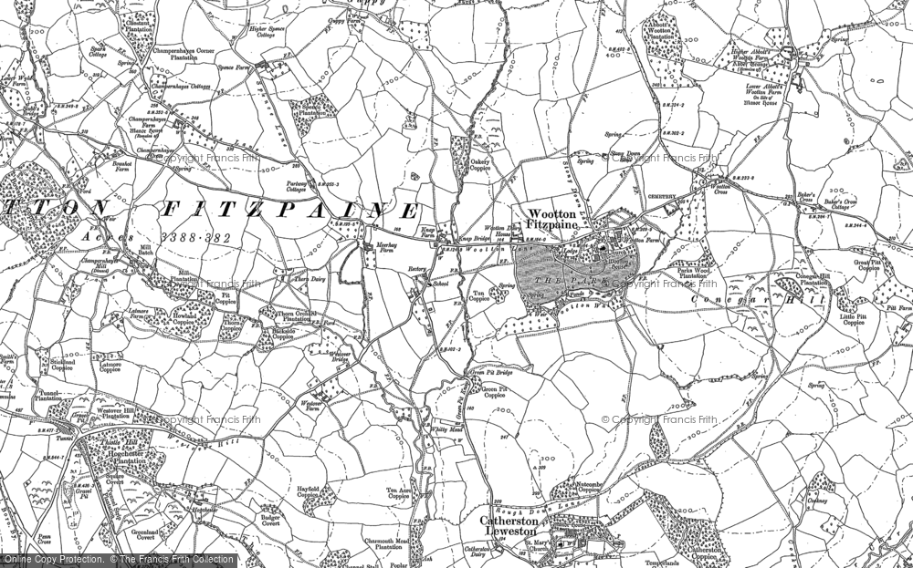 Old Map of Historic Map covering Baker's Cross in 1887