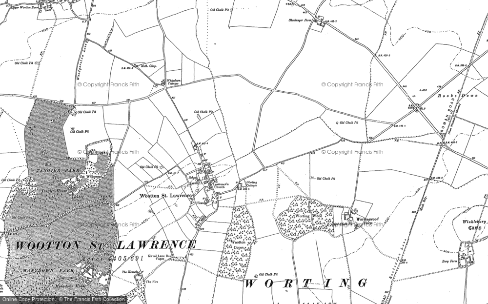 Old Map of Historic Map covering Worting Ho in 1894