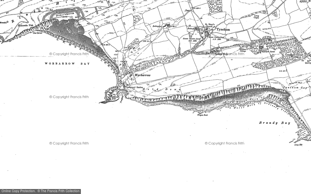 Old Map of Historic Map covering Worbarrow Tout in 1900