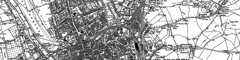 Old map of Worcester in 1884