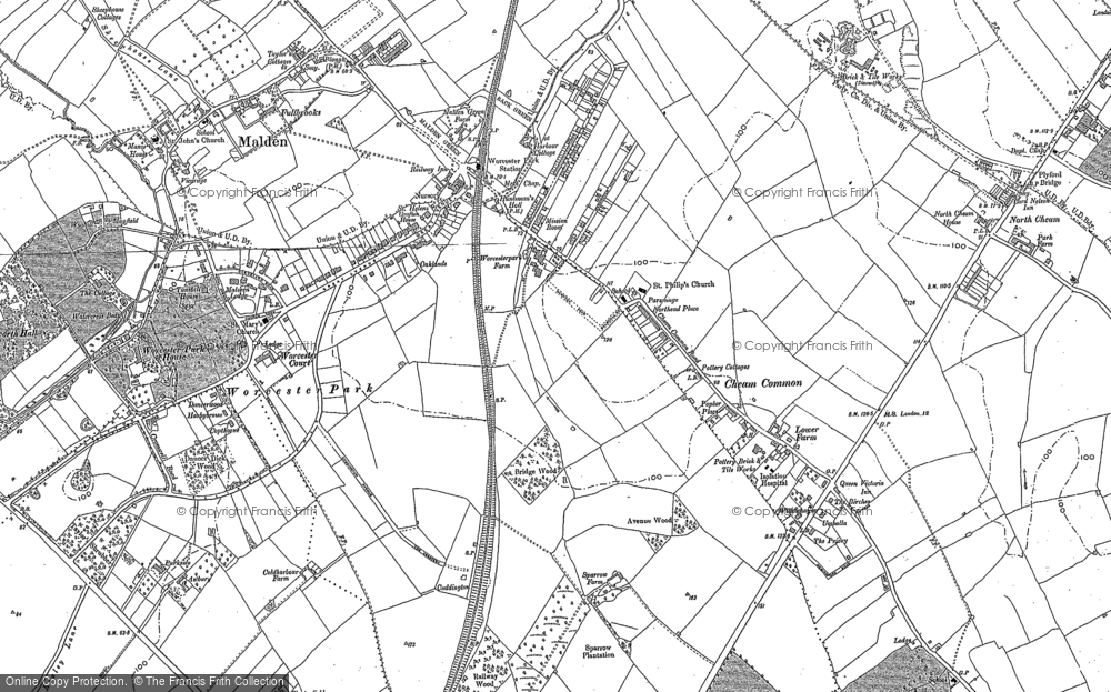 Map of Worcester Park, 1894 - 1895