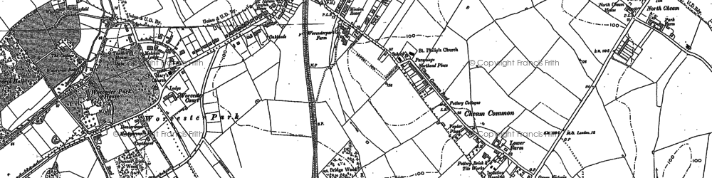 Old map of Worcester Park in 1894
