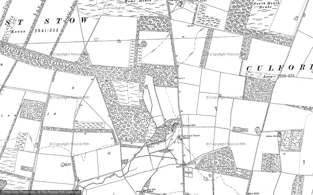 Old Map of Historic Map covering Wordwell Covert in 1882