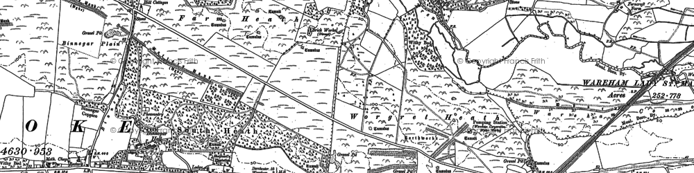 Old map of Worgret Heath in 1887