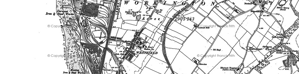 Old map of Workington in 1923