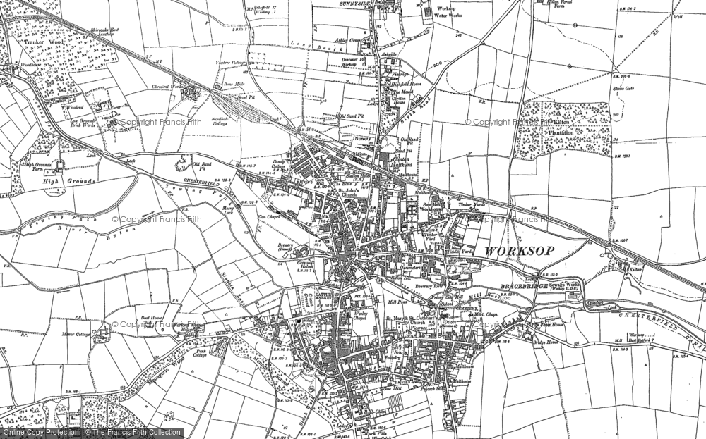 Map of Worksop, 1897
