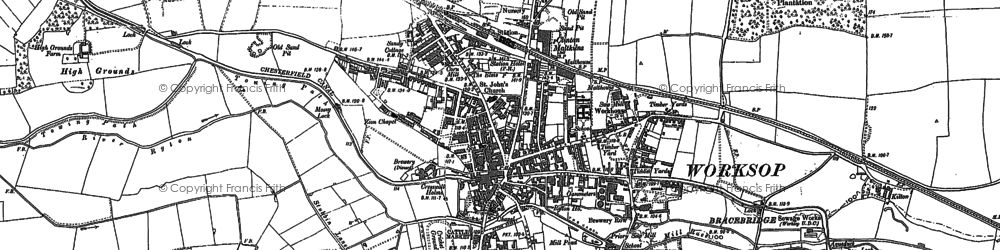 Old map of Worksop in 1897