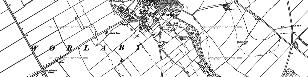 Old map of Worlaby Carrs in 1886