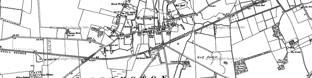 Old map of Worlington in 1882
