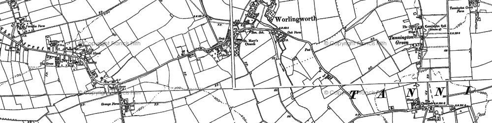 Old map of Worlingworth in 1884