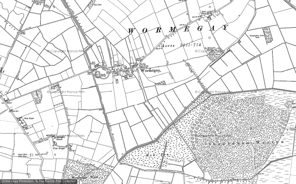 Old Map of Historic Map covering Ling Hills in 1884