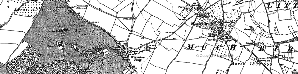 Old map of Wormelow in 1886
