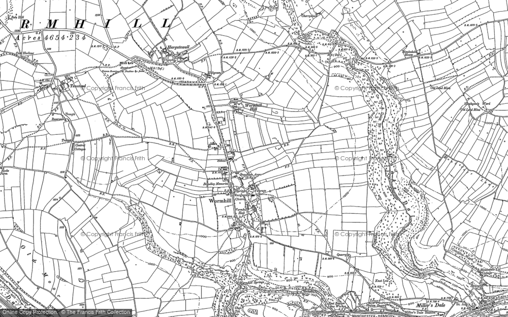 Old Map of Wormhill, 1879 - 1880 in 1879