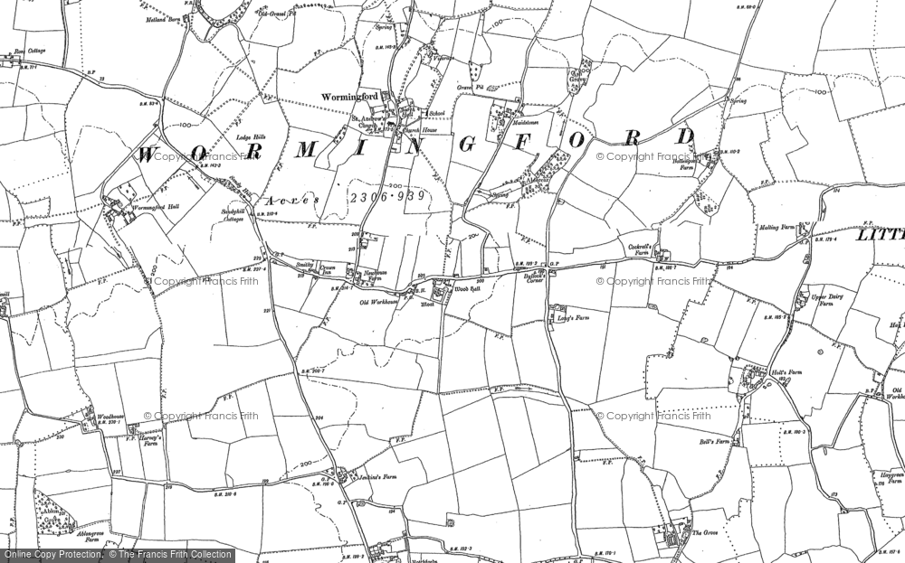 Old Map of Historic Map covering Wood Hall in 1896