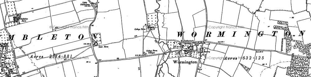 Old map of Wormington in 1883