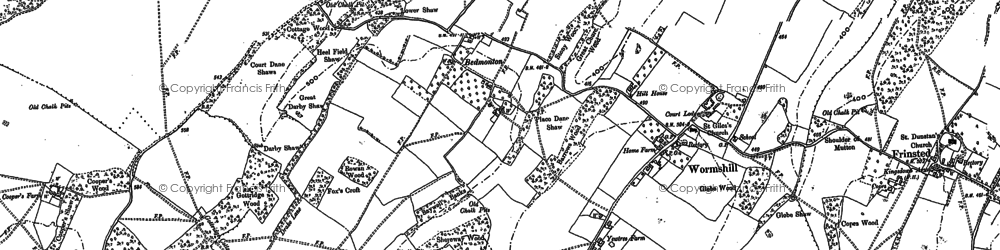 Old map of Wormshill in 1896