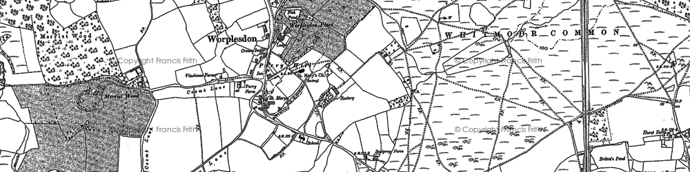 Old map of Worplesdon in 1895