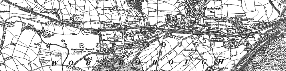 Old map of Worsbrough in 1890