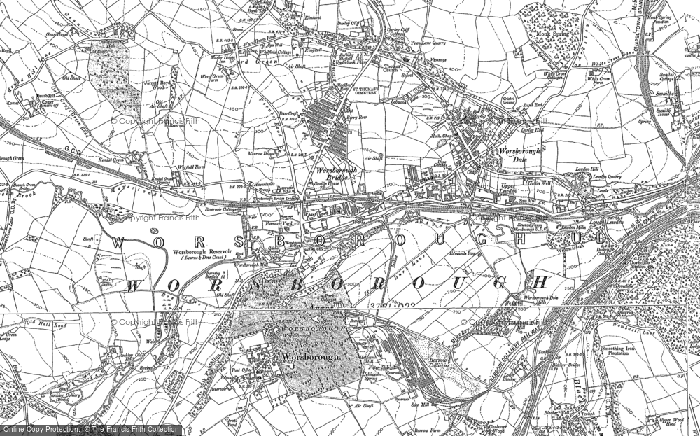 Old Map of Historic Map covering Worsbrough Country Park in 1890