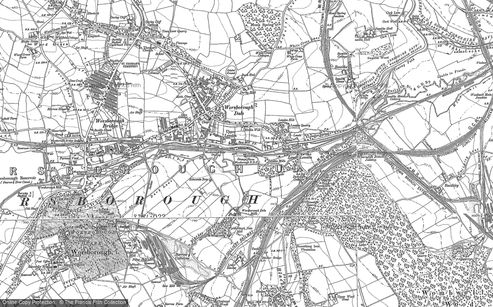 Map of Worsbrough Dale, 1851 - 1891