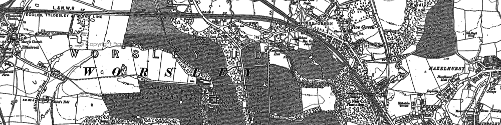 Old map of Worsley in 1889