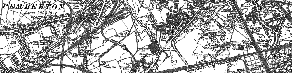 Old map of Worsley Mesnes in 1892