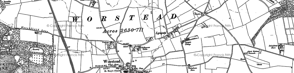 Old map of Worstead in 1884