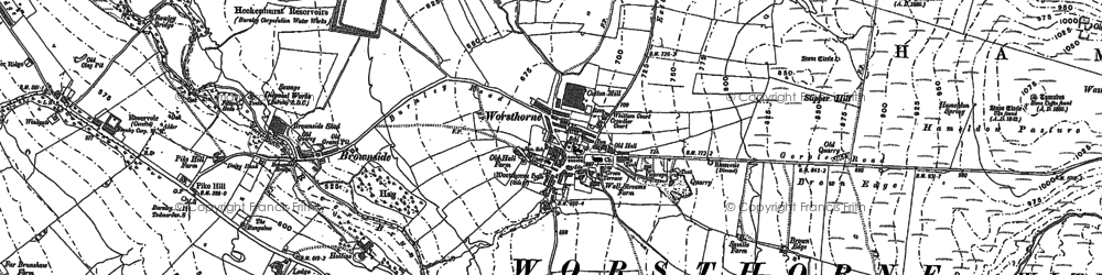 Old map of Worsthorne in 1900