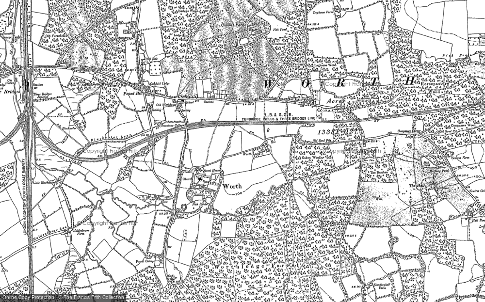 Old Map of Worth, 1909 in 1909