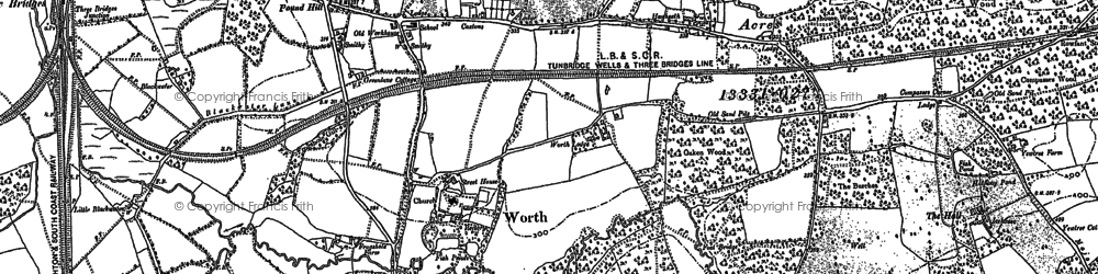 Old map of Worth Abbey in 1909