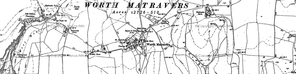 Old map of Worth Matravers in 1900