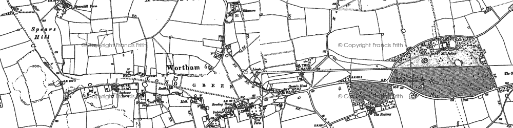 Old map of Wortham in 1885