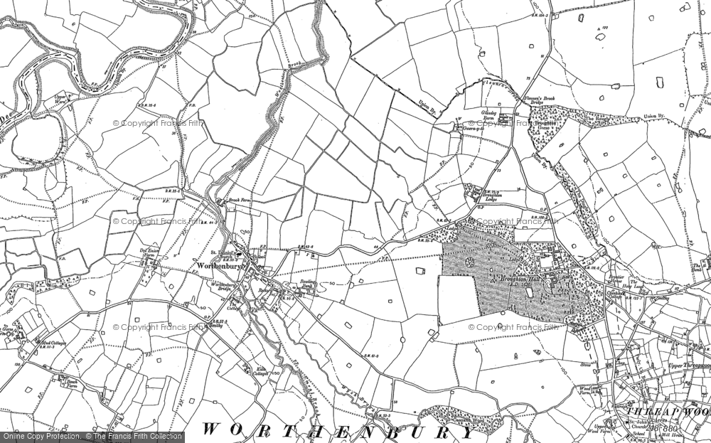 Old Map of Historic Map covering Worthenbury Brook in 1909