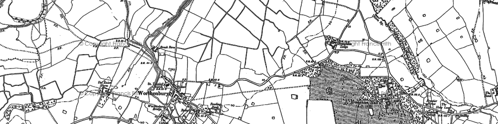 Old map of Worthenbury Brook in 1909