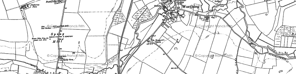 Old map of Worthing in 1882