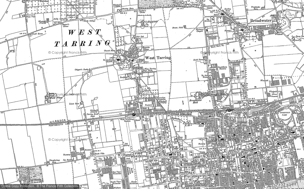 Old Map of Worthing, 1909 in 1909