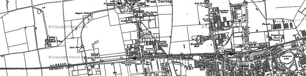 Old map of Worthing in 1909