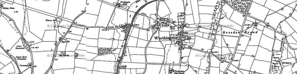 Old map of Worthington in 1899
