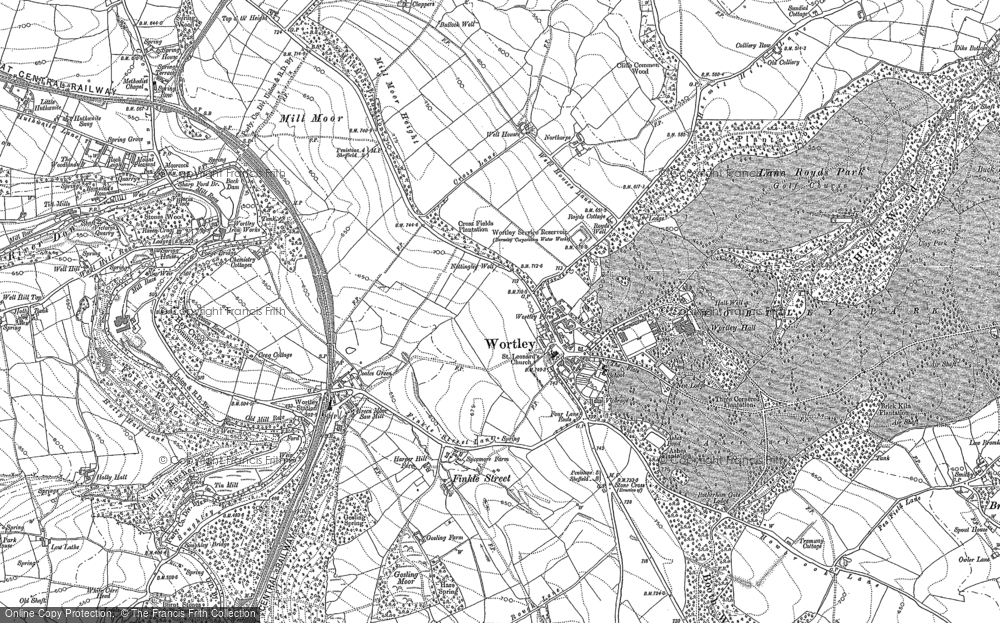 Old Map of Historic Map covering Wharncliffe Resr in 1891